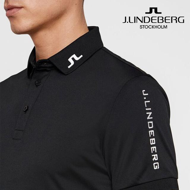 제이린드버그 투어 테크 슬림 TX 골프웨어 폴로 반팔티 티셔츠, Black