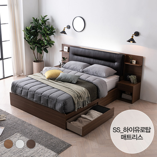 [에몬스] 엘리 LED 서랍형 침대(SS)_하이유로탑 매트리스, 단품