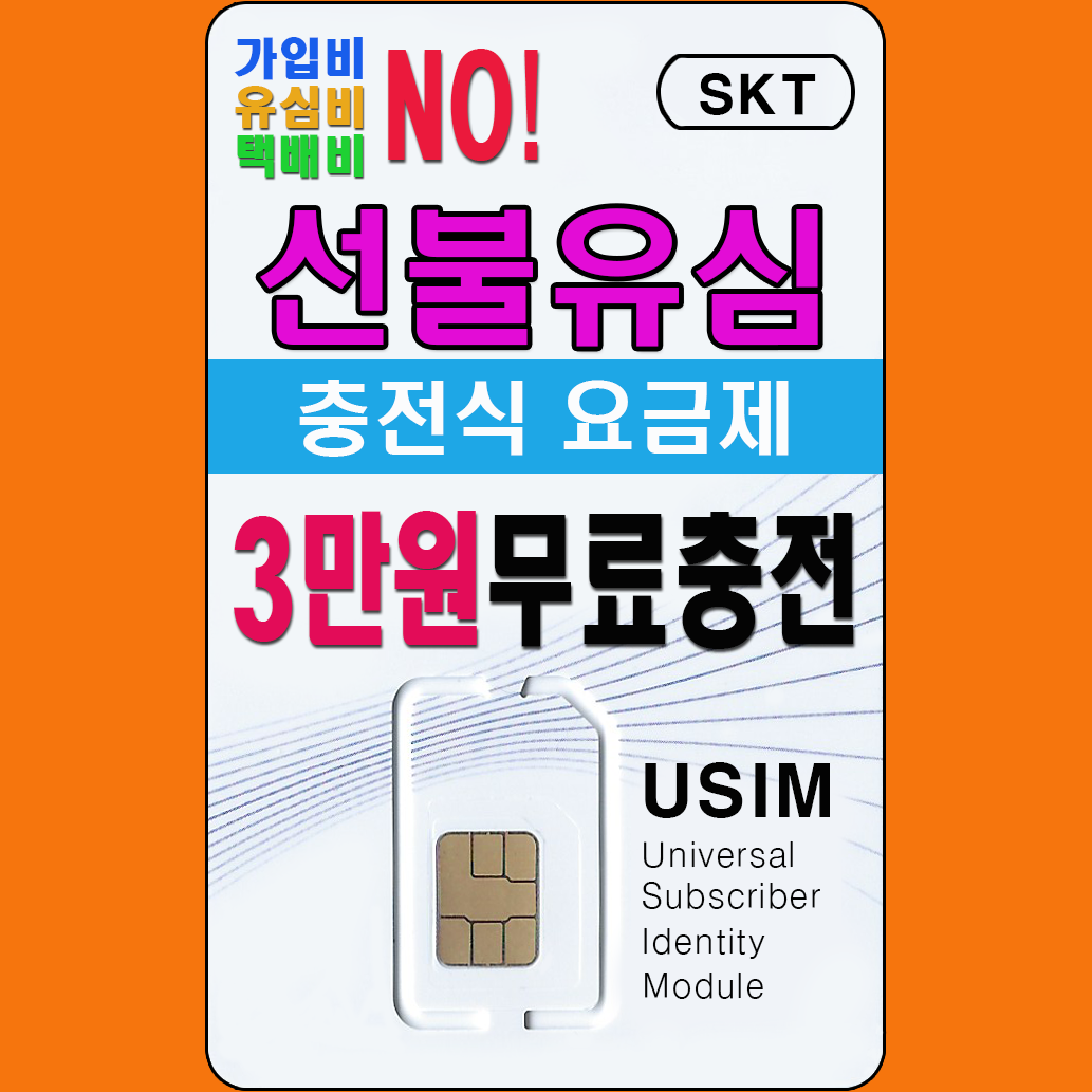 선불폰대장 SKT 선불유심 3만원 무료충전 유심개통, 1개, 선불 절약 4950