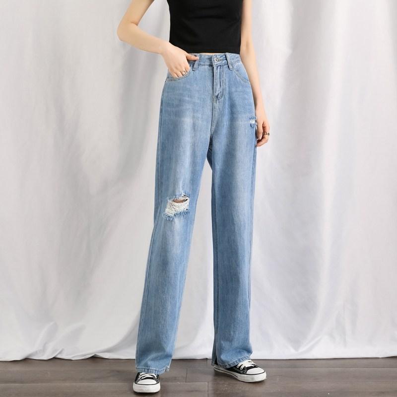 나래쇼핑몰 맥시 드레이프 팬츠 빅진 청바지 여성 하이웨스트 여름 얇은 와이드 루즈핏 슬림핏 드롭 트임 절개 슬릿 대미지