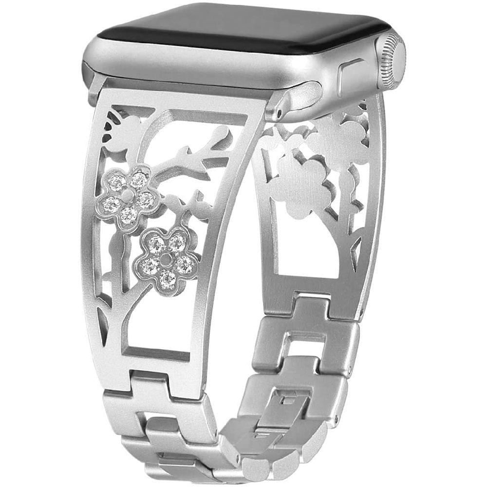 Mtozon 애플 시계 밴드 38mm 40mm iwatch 밴드 시리즈 5 4 3 2 1 여성 스테인레스 스틸 저녁 쥬얼리 팔찌