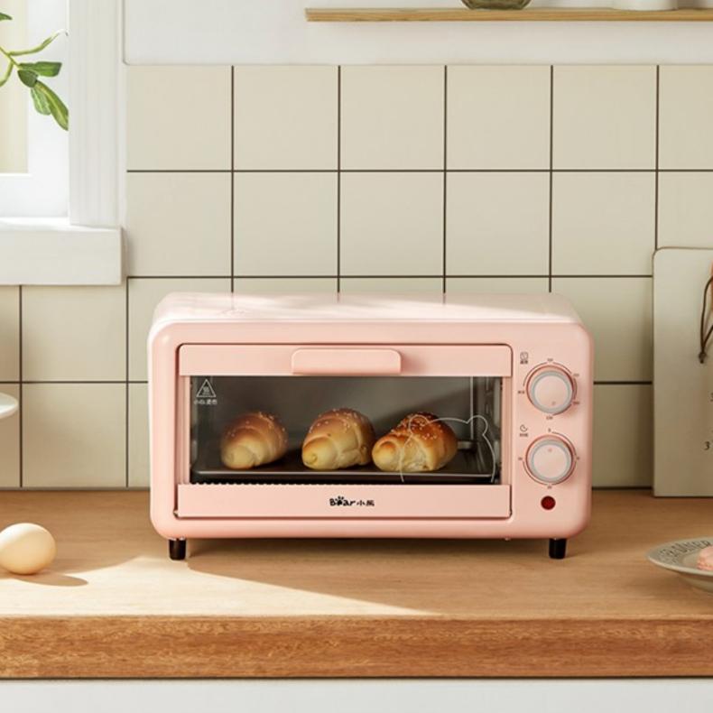 bear 미니 콤팩트 전기 오븐 토스터 오븐렌지, 로즈 핑크