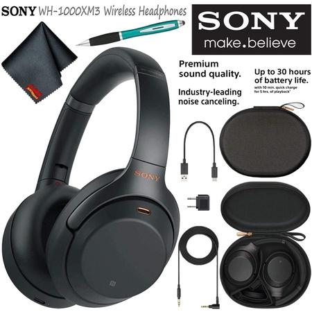 헤드셋 Sony WH-1000XM3B Wireless Bluetooth Noise-Canceling Over-Ear Headphones (Black) Basic Headph, 상세 설명 참조0, One Color