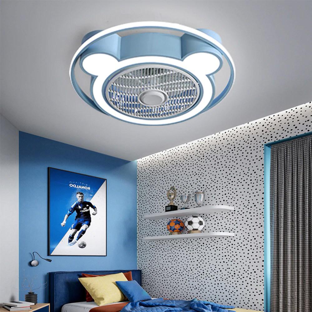 [쿨마켓] CFL-18 LED 38W 천장 리모컨작동 실링팬 라이트 어린이방등 남자아이 여자아이 키즈방 천장 선풍기등, 블루