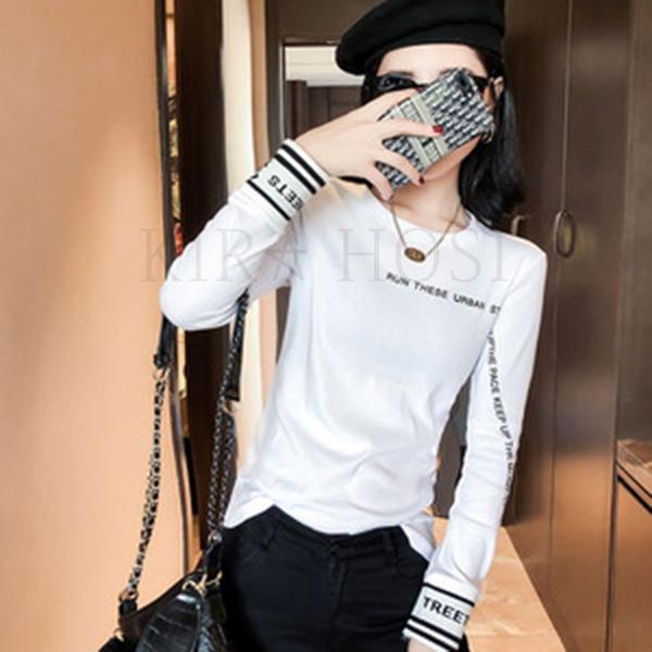 kirahosi 여성 두꺼운 긴팔 티셔츠 여자 긴팔 맨투맨 겨울 블라우스 78 BU3q5gdm