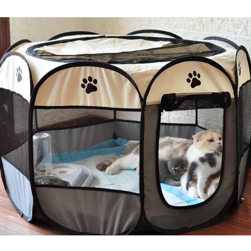 투미 강아지 고양이 애견 털 말리기 드라이룸 중형 휴대용 접이식 텐트, 브라운
