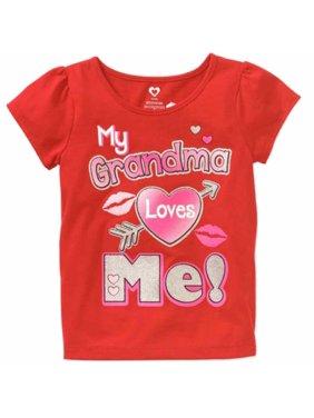 아장아장 걷는 소녀 빨간 반짝반짝 우리 할머니는 나를 사랑해 밸런타인데이 티셔츠 티셔츠