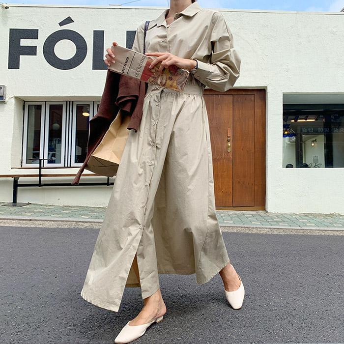 온더리버 108970 롤브레드 셔츠 하프 플레어 롱 원피스 여성 루즈핏 데일리 허리 밴딩 OPS