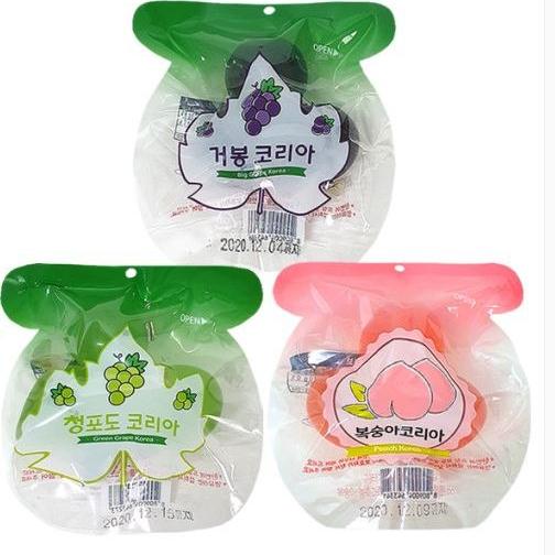[소공원] 1+1+1 국산 거봉코리아 쿄호 젤리 곤약 거봉+복숭아+청포도 90gx3개, 1개, 90g