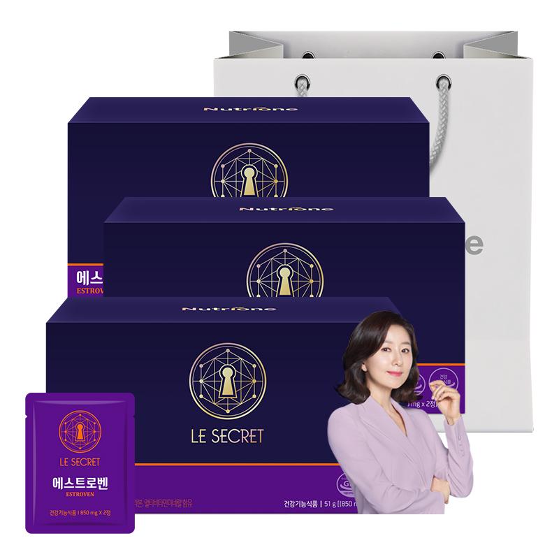 뉴트리원 추석 엄마 선물 NO.1 피로 개선 여성 갱년기 영양제 폐경기 건강관리 식물성 에스트로겐 홍삼 건강기능식품 쇼핑백증정 + 활력환, 3box, 30포