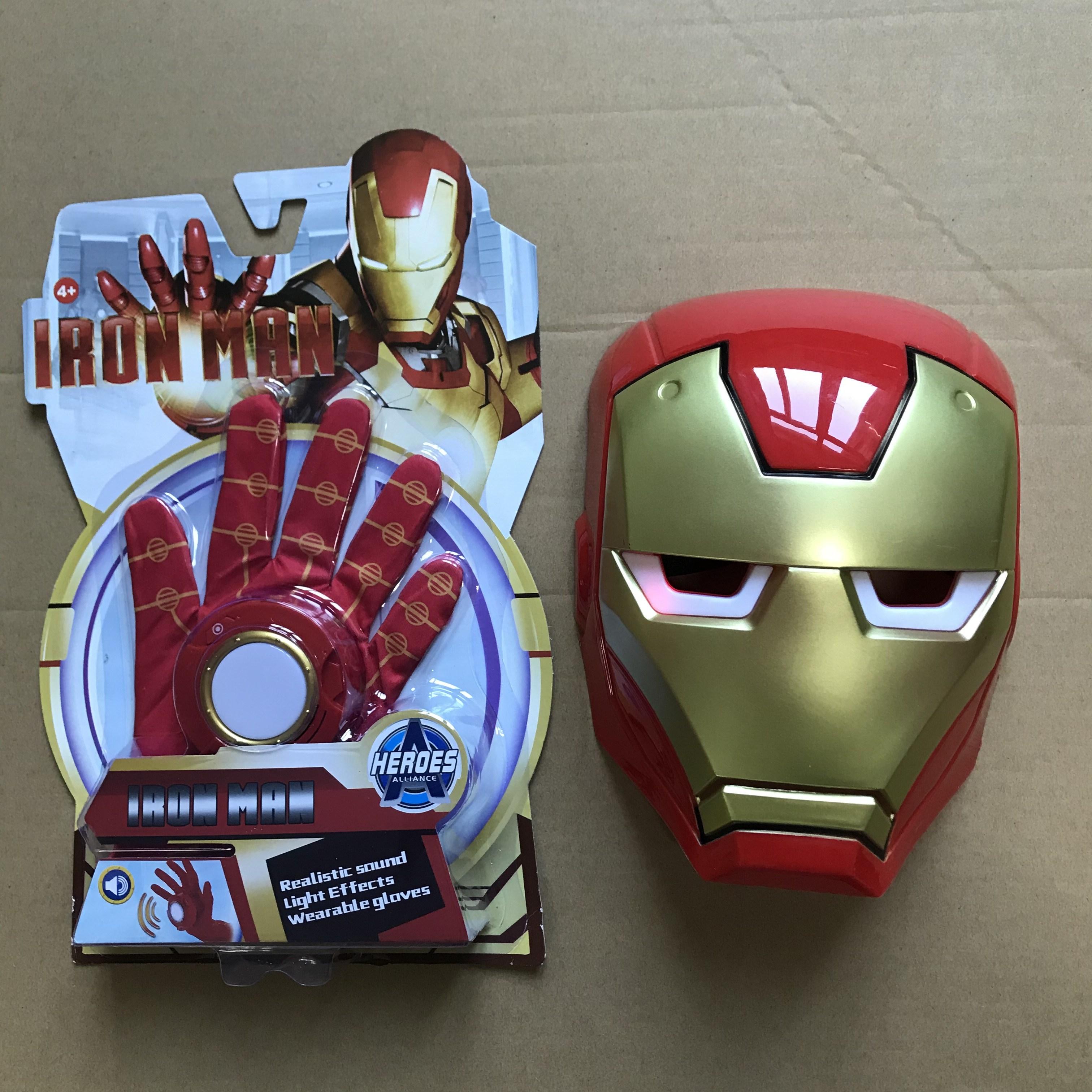 어린이 가면 아동 가면 아이언 가면 마스크 캡틴 아메리카 가면 마스크 조명 소리 작동, 아이언 맨 소리와 가벼운 장갑 + 빛나는 편안한 마스크 눈