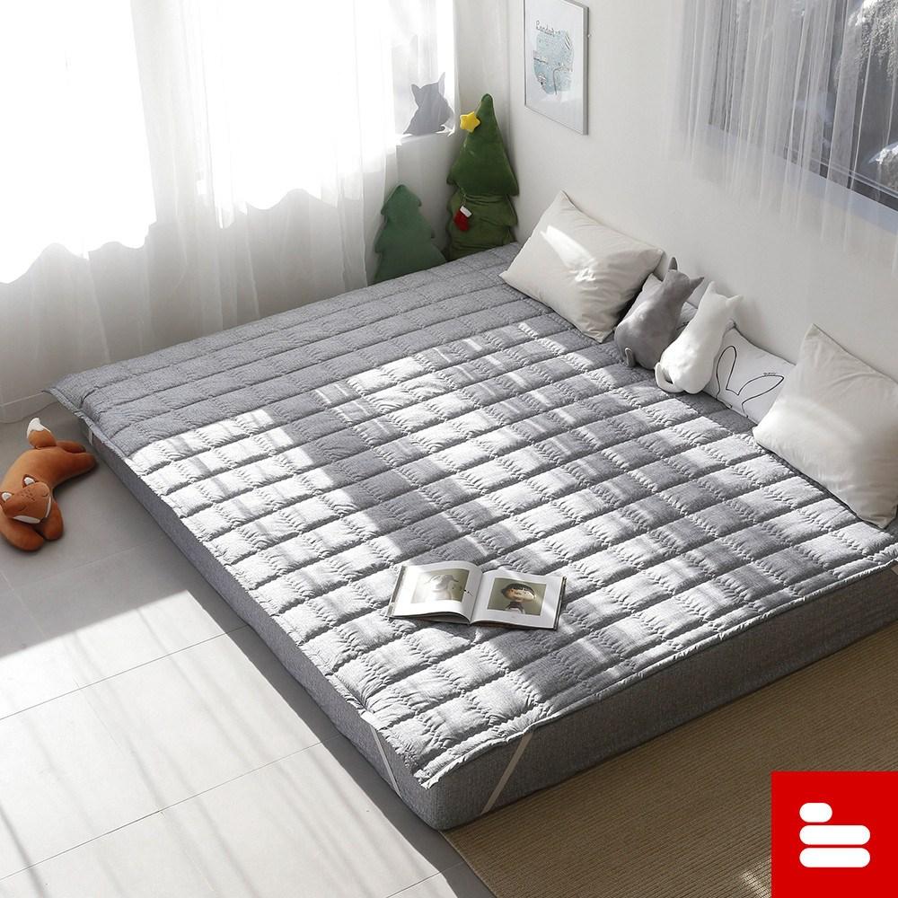 더블샵 먼지걱정없는 패밀리 침대 패드, 포그그레이, Q+SS(265x205cm)