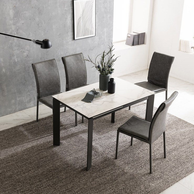 다우닝 Dauning 이태리 스페인 세라믹 익스텐션 식탁세트 4-6인 식탁1 + 의자4, 그레이스톤(이태리)