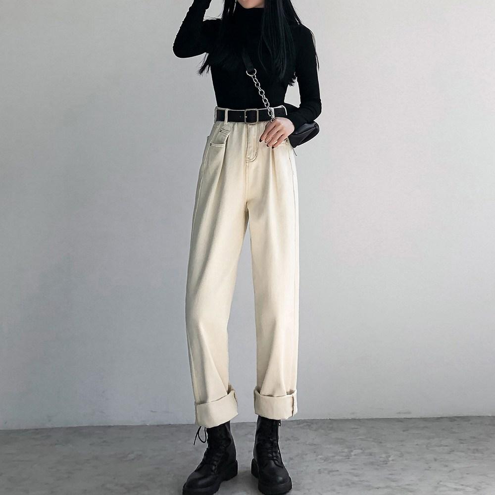 나래쇼핑몰 하이웨이스트 슬랙스 와이드 팬츠 봄계절 베이지 색깔 루즈핏 슬림핏 일자 통 바지 카고 캐쥬얼 청바지 여성