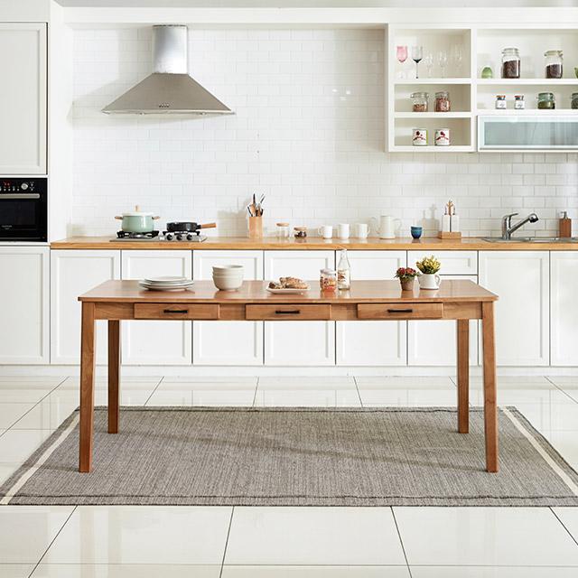 디자이너스룸 이스테지아 원목 8인 식탁 (의자별도), 단품