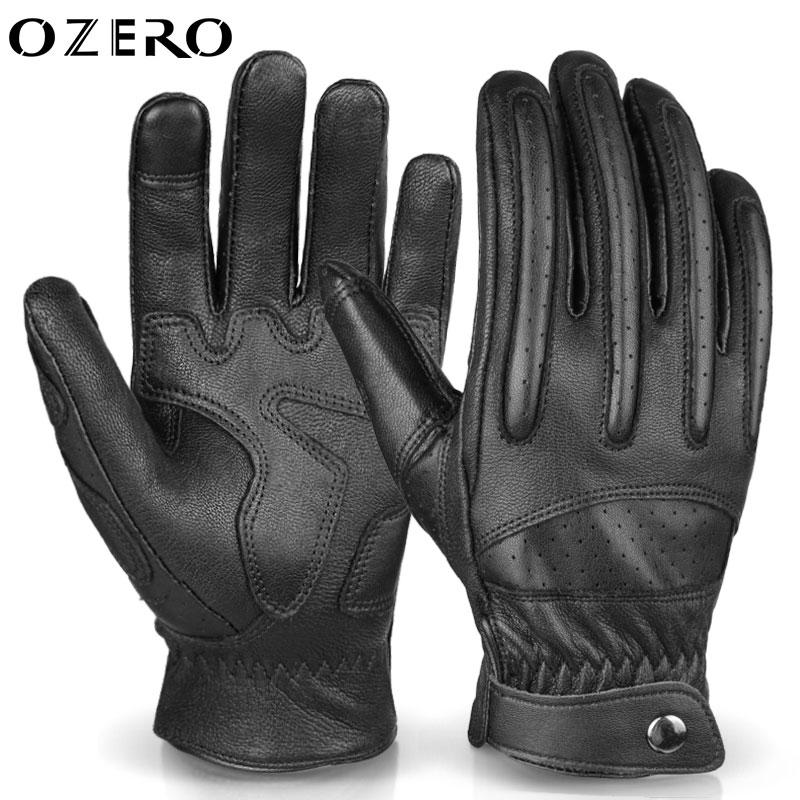 OZERO 오제로 오토바이 장갑 양가죽 터치 장갑 바이크 매쉬장갑 레이싱 글러브 남녀공용(A5035), 블랙