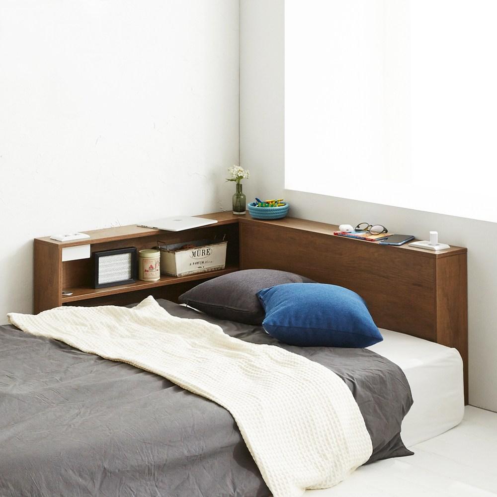 블루밍홈 슬림 침대사이드테이블 침대테이블 헤드보드, 월넛ⓘP823645ⓟ