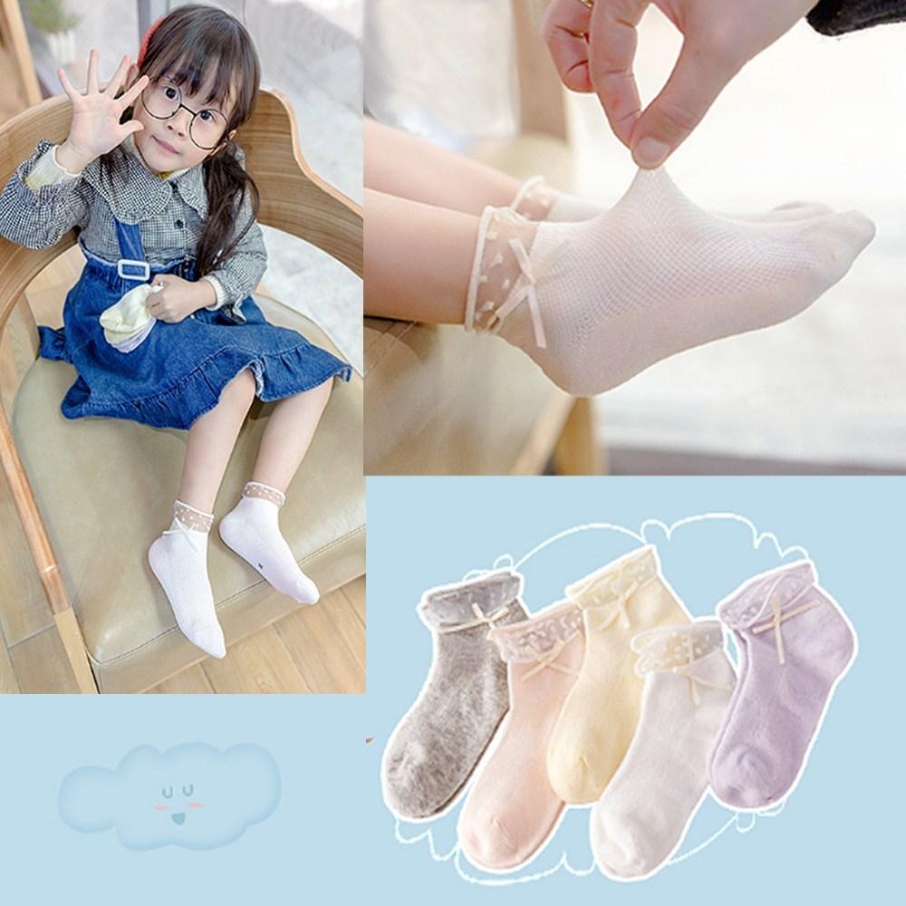 제이셀 K98-1여아용 파스텔톤 레이스 리본 포인트 아동 발목양말
