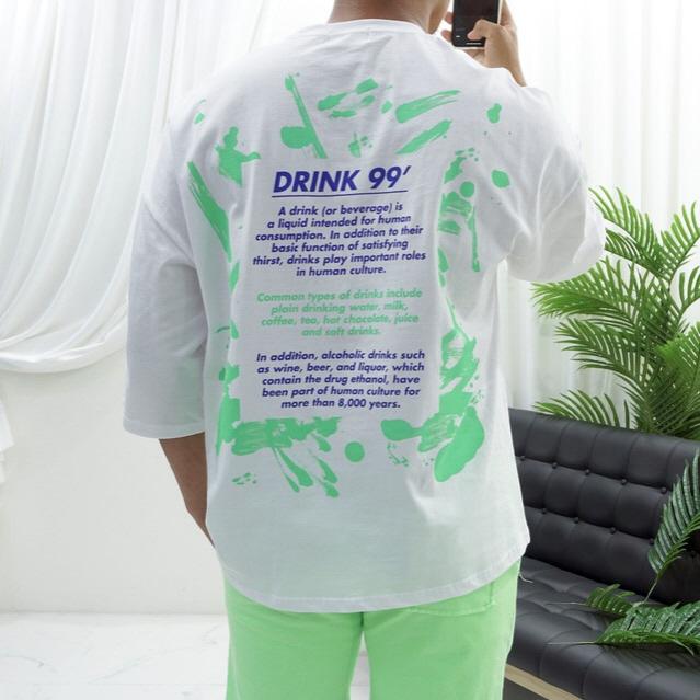 고천 오버핏 드링크 프린트 7부티셔츠