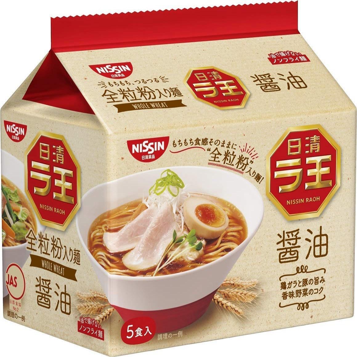 Nissin - Raoh Japanese Instant Ramen Noodles Soy Sauce Taste 17.1oz (For 5 Bowls) Nissin-Raoh 일본식 인스, 1