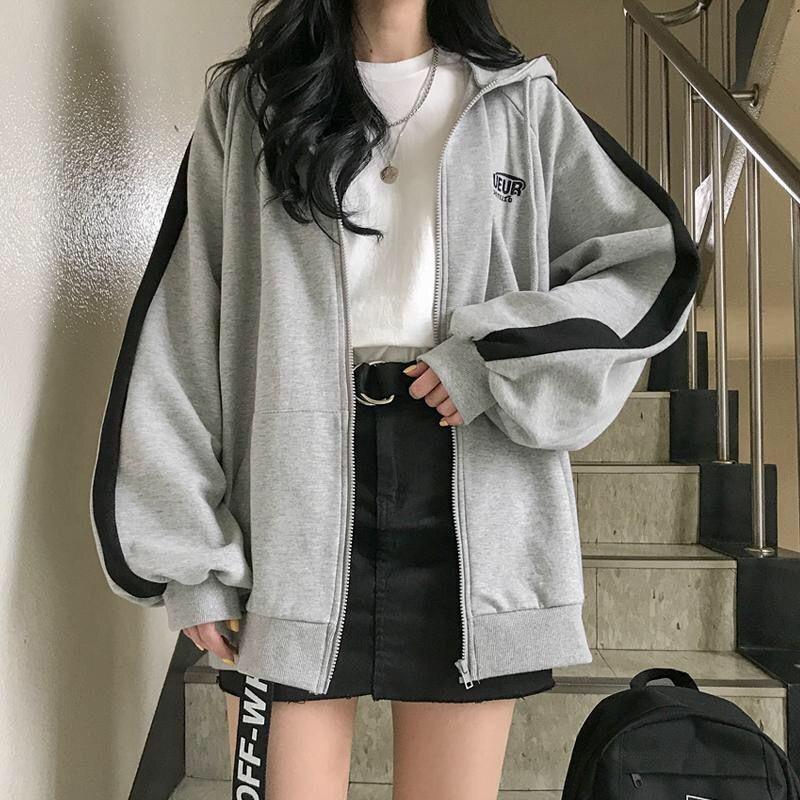 썸룩 유나 후드집업 롱루즈핏 여성자켓 단체복 후드점퍼