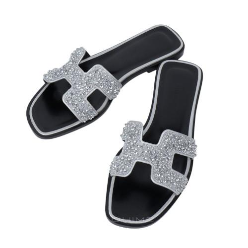 (당일출고) 에르메스 신발 슬리퍼 오란 크리스탈+블랙 ORAN sandal