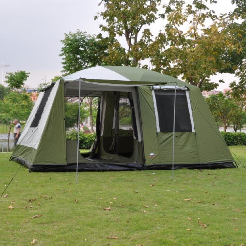 대형 텐트 2베드룸 1 홀 방풍 다 인용 더블 레이어 캠핑 텐트 5-8 명 6-12 명, 침실이 2 개인 그린 침실 1 개 싱글 텐트