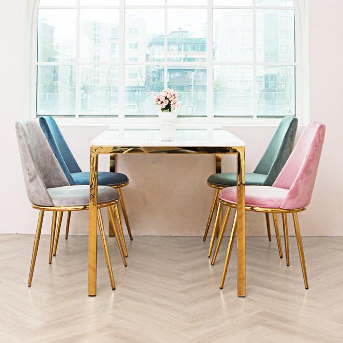 일루일루 스카 골드 대리석 4인식탁세트 (스퀘어) 식탁세트, 스퀘어식탁+블랜도벨벳체어 핑크4개