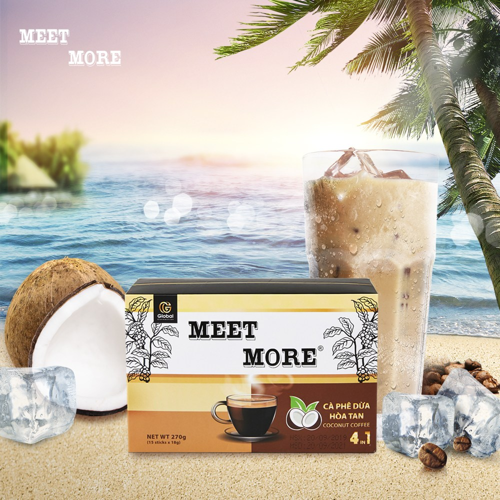베트남 미트모어 4in1 코코넛 믹스 커피 달고나커피, 15개입