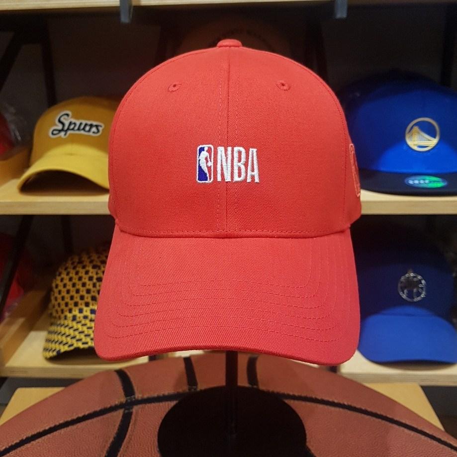 NBA 남여공용 P.E 깔끔한 브랜드 로고 자수 레드 볼캡 모자