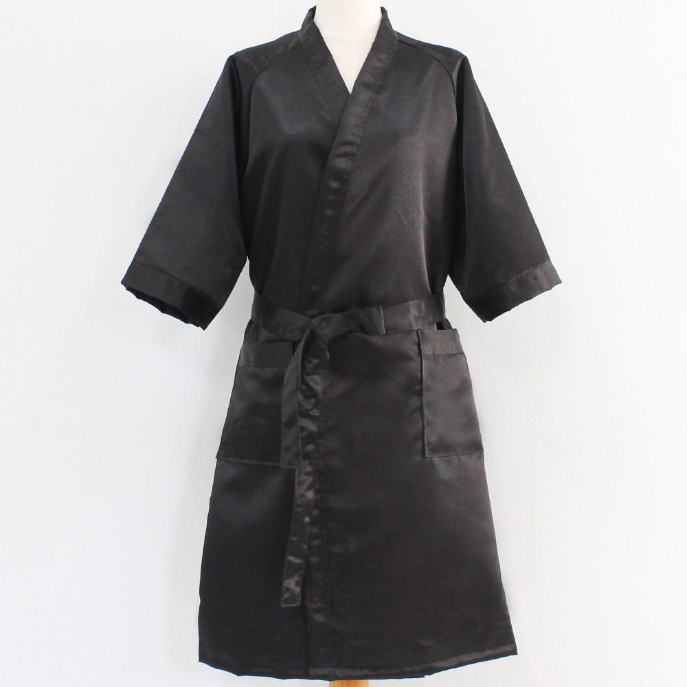 [어메니티타올] 호텔용 럭셔리 실크 샤워가운, 1개, 블랙