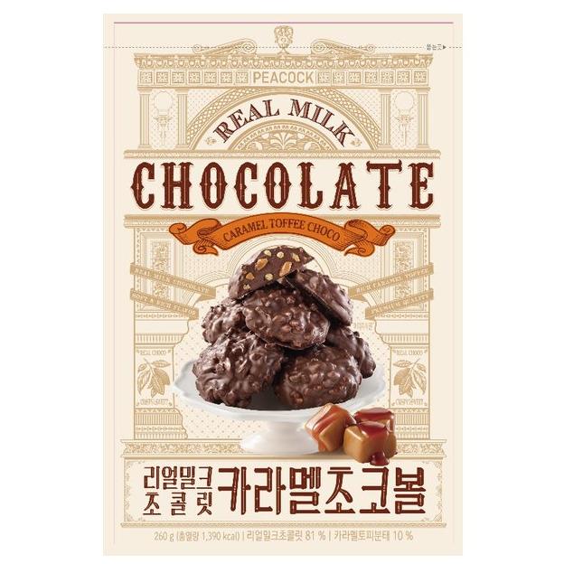 피코크 리얼밀크 초콜릿 카라멜초코볼 260g x2, 260g2개