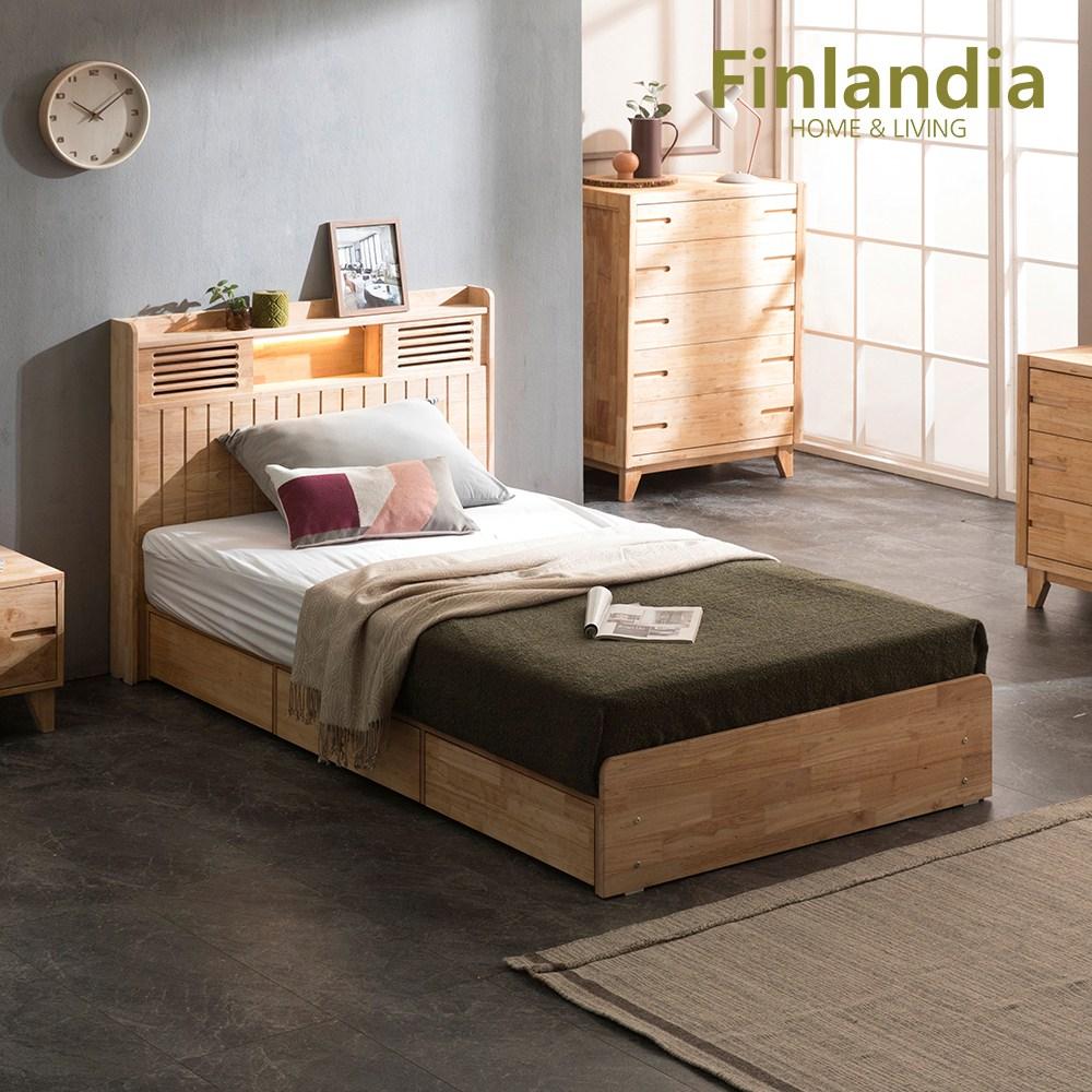 핀란디아 네이쳐 R100 수납LED 침대 SS(슈퍼싱글)+40T라텍스독립매트리스, 단품