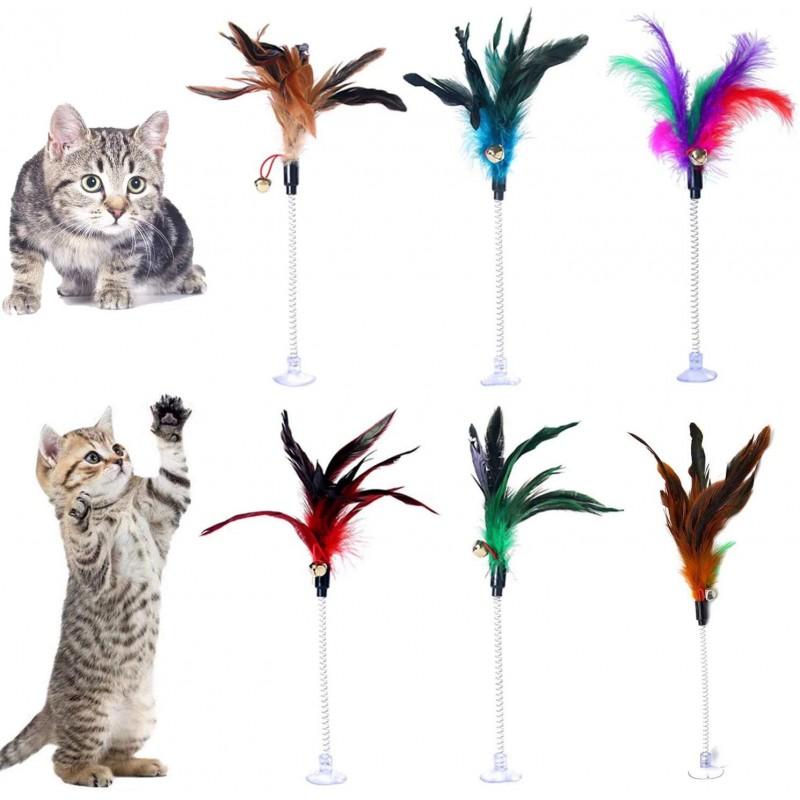 Lainrrew 6 개 고양이 깃털 지팡이 와이어 봄 고양이 티즈 낚싯대 벨 및 어리버리 유연한 고양이 깃털, 1