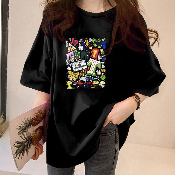 스타일아유 여성용 아기자기 오버핏 반팔 티셔츠