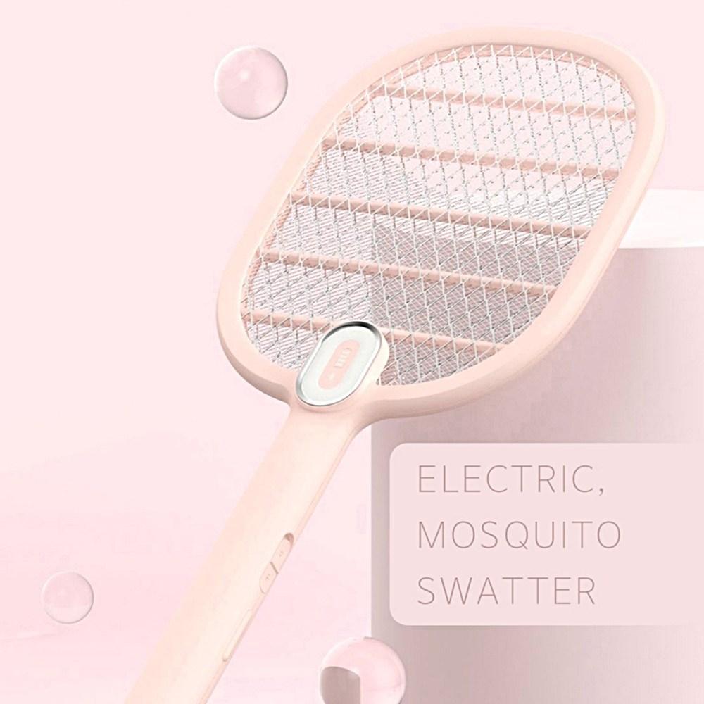 (본사직배송] 모기시루 LED USB충전 전기모기채 예쁜모기채 여름모기 가을모기 캠핑필수모기채 다잡아모기채 바캉스휴대모기채, 핑크