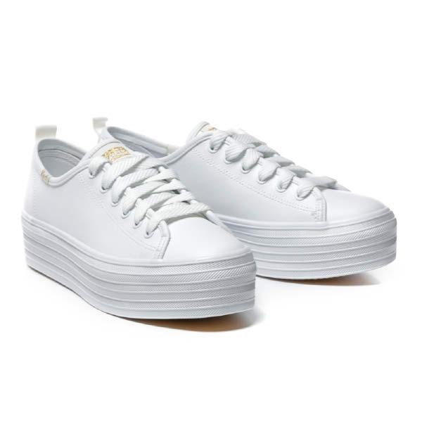 [현대백화점][스닉솔]케즈 트리플 업 레더 WH61626 여성 캔버스 스니커즈 단화 키높이 가죽 흰색 화이트