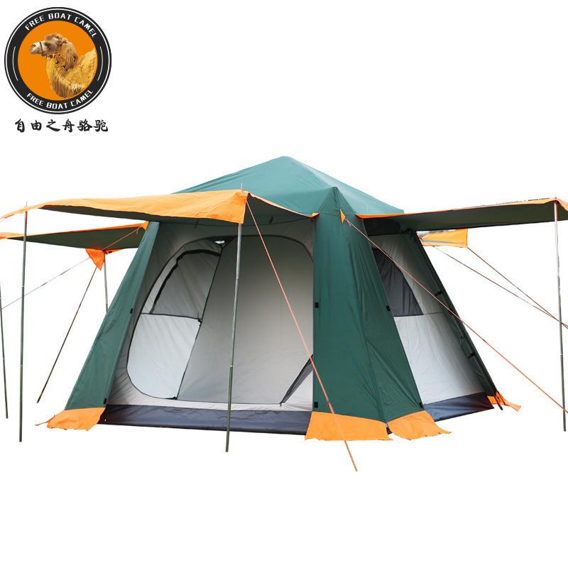 FBC 091-1 신형 원터치 자동 팝업 스프링식 전자동 텐트 캠핑 텐트 3-4인용, 그린