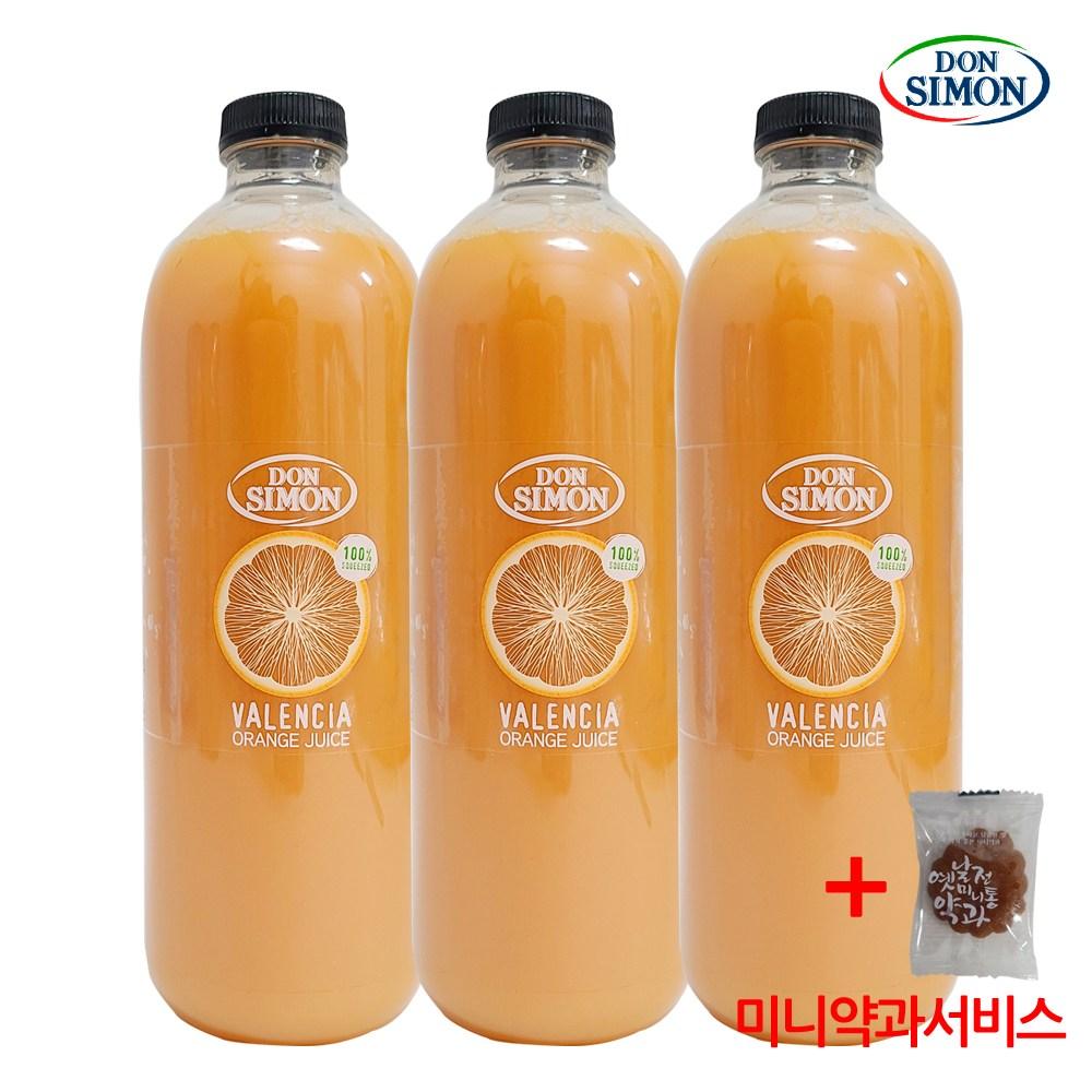 코스트코 돈시몬 발렌시아 오렌지주스 100% 무가당 착즙+미니약과1개서비스, 3개, 1L