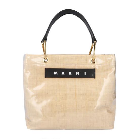 마르니 20FW 여성 글로시 그립 로고 토트 백 베이지 SHMP0015Q1P3620