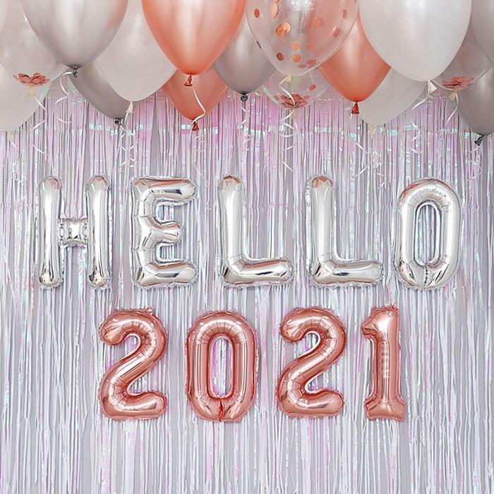제이벌룬 HELLO 2021 신년 파티 용품 풍선 장식 세트, 실버톤