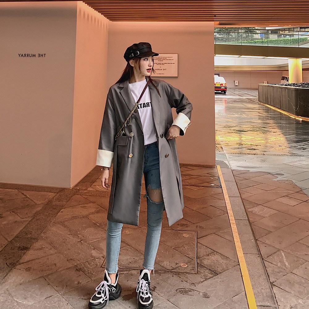 위파인더 와잇모어 트렌치코트 여중장 2020 가을 한국판 무릎 위닝코트