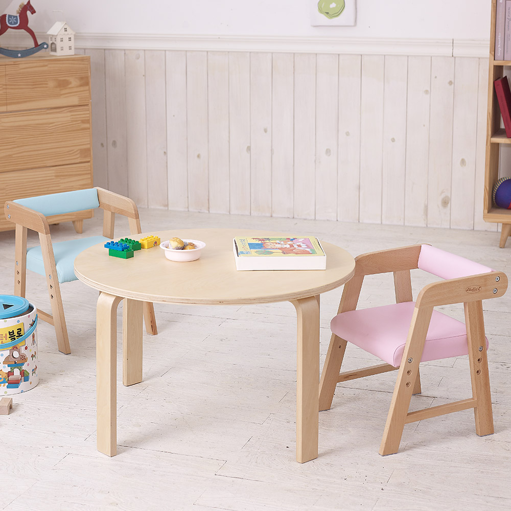 토리 원목 유아 원형 책상 파스텔의자세트, 유아 원형 내추럴 책상-파스텔의자 하늘+분홍