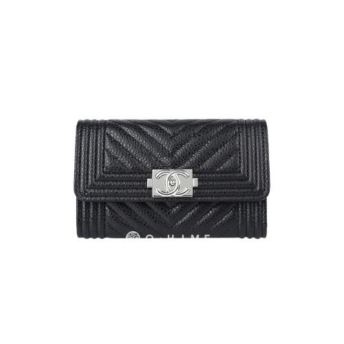 [샤넬] 지갑 플랩 카드코인 쉐브론 캐비어 : 블랙+실버