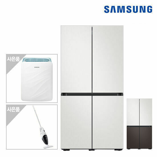 삼성 비스포크 냉장고 4도어(코타) RF85T9003AP+삼성공기청정기+청소기, 색상:코타화이트