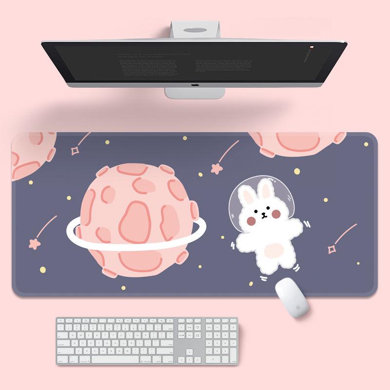 코스모 롱 마우스패드 마우스 장패드 400 x 900 mm, 귀여운 분홍색 행성 토끼