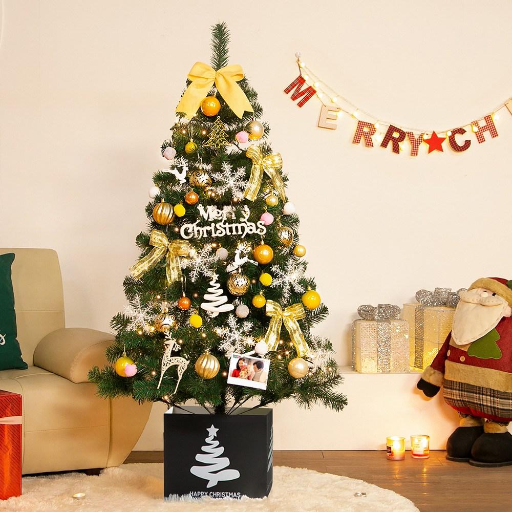 [나무 업그레이드 이벤트] 웰스트리 1.5m 트리 골드 스카치 크리스마스트리 세트