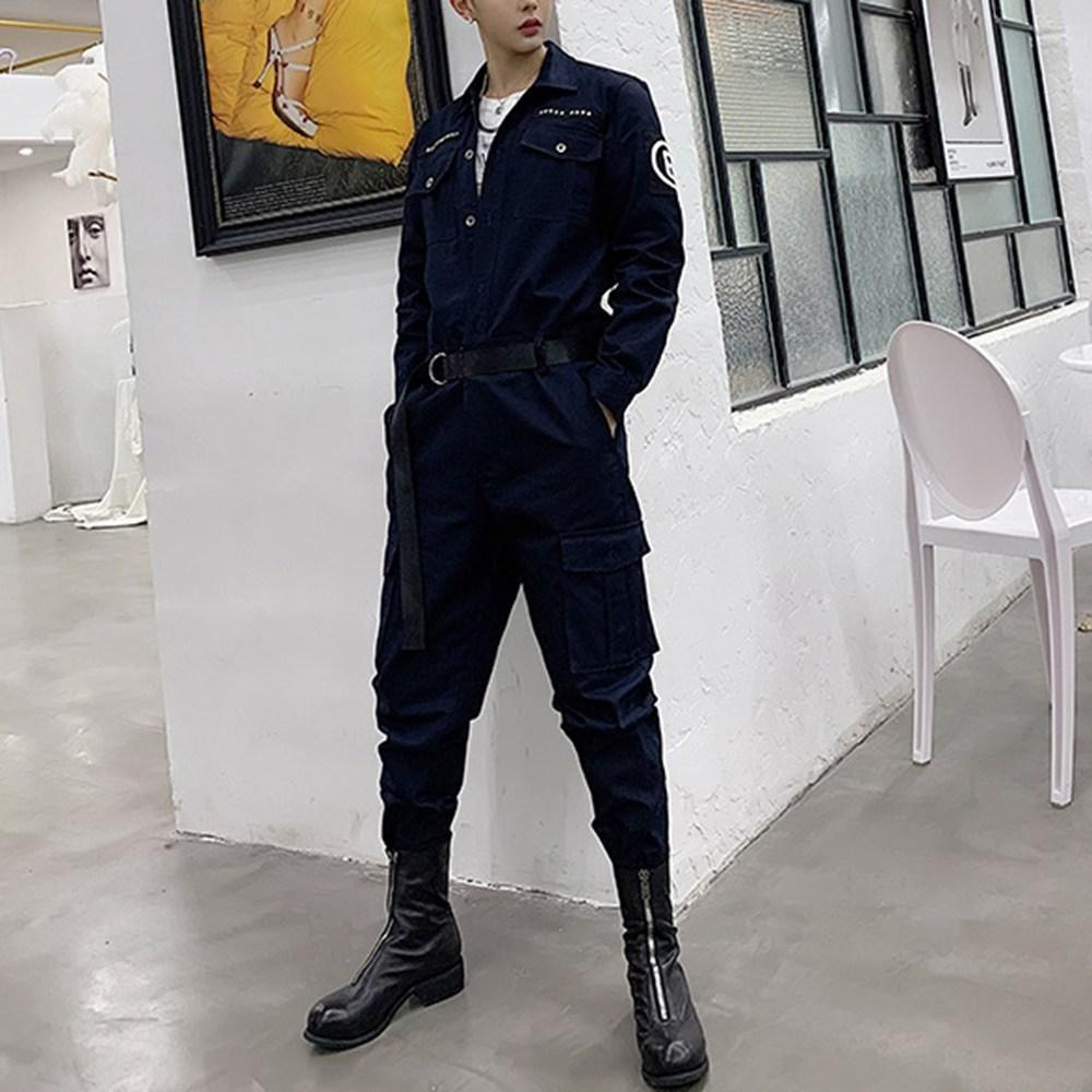 욜업 남성 점프수트 캐주얼 오버핏 작업복 포켓 벨트 슈트