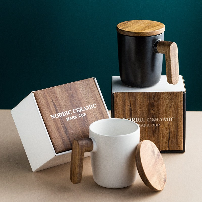 홈카페 북유럽 나무손잡이 뚜껑 세라믹 머그컵 예쁜 우드핸들 머그잔 선물세트, 화이트 세트
