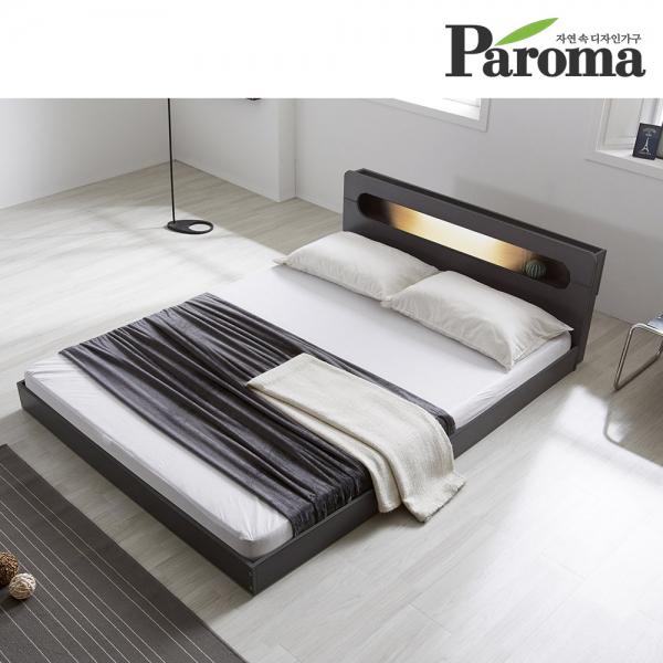 파로마 에반 LED 저상형 침대/일반형 퀸(Q)_프레임만(착불), 오크